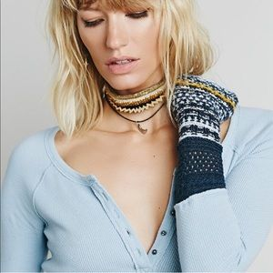 Free People || Thermal Sweater Cuff Top Button Up